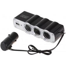 Автомобильный разветвитель тройник WF-0120 + USB