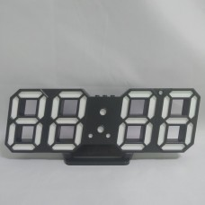 Электронные настольные LED часы с будильником и термометром Caixing CX-2218 чёрные (синяя подсветка)