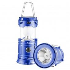 Кемпинговая LED лампа JH-5800T c POWER BANK Фонарь фонарик солнечная панель Синий