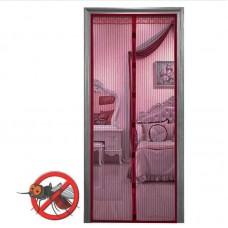 Анти москитная сетка штора на магнитах Magic Mesh 100*210 см Темно-вишневый