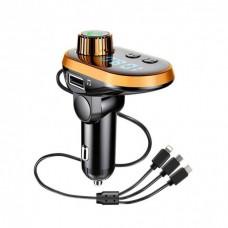 Автомобильный FM трансмиттер модулятор Q15 Bluetooth Золотой