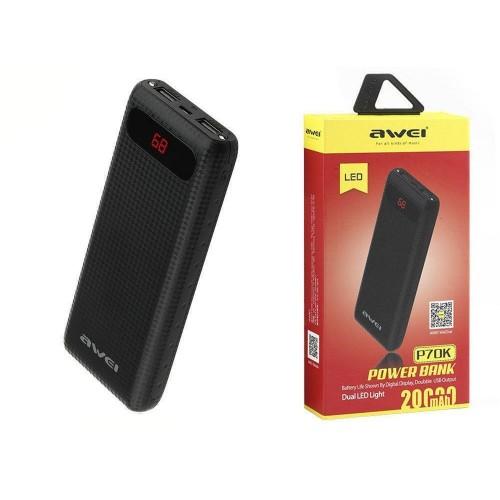 Внешний аккумулятор Power Bank Awei P70K 20000 mAh Чёрный