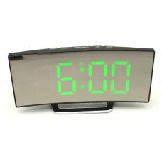 Электронные зеркальные часы настольные EDLT DT-6507 Черные с Зелёной подсветкой