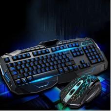Игровая проводная клавиатура с мышкой и LED подсветкой V100