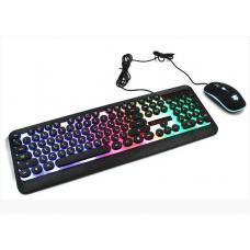 Комплект проводная клавиатура игровая LED и мышь HK3970 Чёрная
