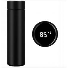 Бутылка термос с индикацией температуры для воды напитков стальной 500 мл Smart CUP Чёрный