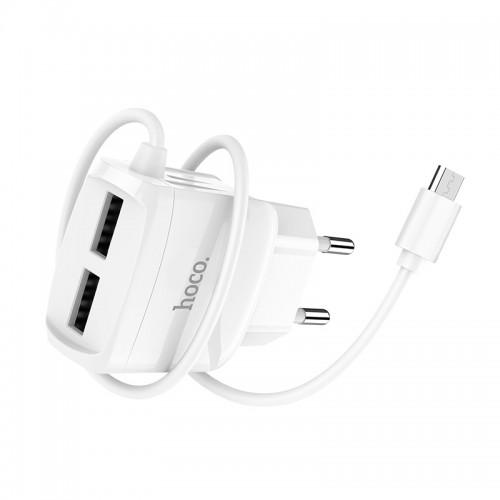 Зарядное устройство HOCO C59A Mega joy со встроенным кабелем micro USB Белый