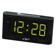 Электронные зеркальные часы настольные VST 732Y Черные с Зелёной подсветкой