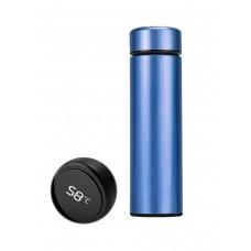 Бутылка термос с индикацией температуры для воды напитков стальной 500 мл Smart CUP Синий