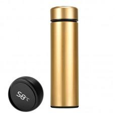 Бутылка термос с индикацией температуры для воды напитков стальной 500 мл Smart CUP Золотой
