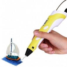 3D ручка для рисования с экраном 3д Ручка Pen3 MyRiwell с LCD дисплеем + трафарет Жёлтая