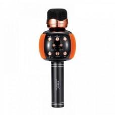 Беспроводной микрофон караоке блютуз WSTER WS-2911 Bluetooth динамик USB Чёрный с оранжевым