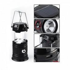 Кемпинговая LED лампа JH-5800T c POWER BANK Фонарь фонарик солнечная панель Чёрный