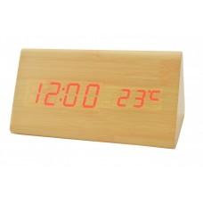 Деревянные Настольные часы VST-861 светодиодные светлое дерево