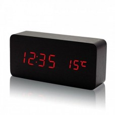 Деревянные Настольные часы VST-862 светодиодные чёрные